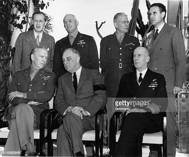 The US leaders sit in the President's villa in Casablanca for a meeting with the British Left to right seated Chief of Staff General George C...
