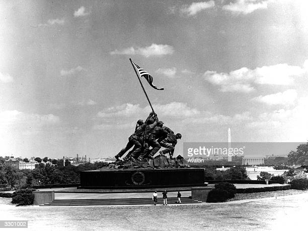 The US Marine Corps Memorial sculpture by Felix de Weldon located in Arlington Virginia in memory of all Marines killed since the Marine Corps was...