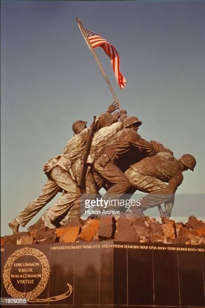 The US Marine Corps War Memorial commemorating the US Marine Corps service in the Battle of Iwo Jima and World War II Arlington Virginia