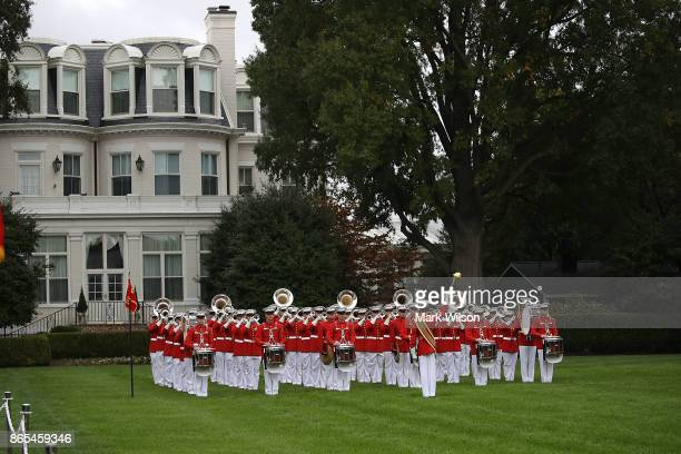 The US Marine Drum and Bugle Corp plays during a ceremony to commemorate the anniversary of the 1983 bombing of the Marine barracks in Beirut Lebanon...