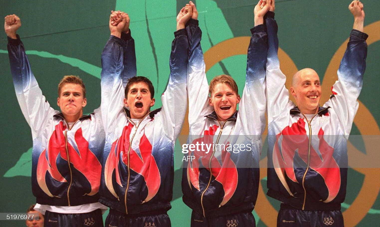The US men's 4x100m freestyle team Jon Olsen, Brad : Fotografía de noticias