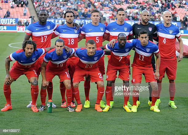 The US men's national team poses for a photo before the start of a World Cup preparation match against Azerbaijan at Candlestick Park in San...
