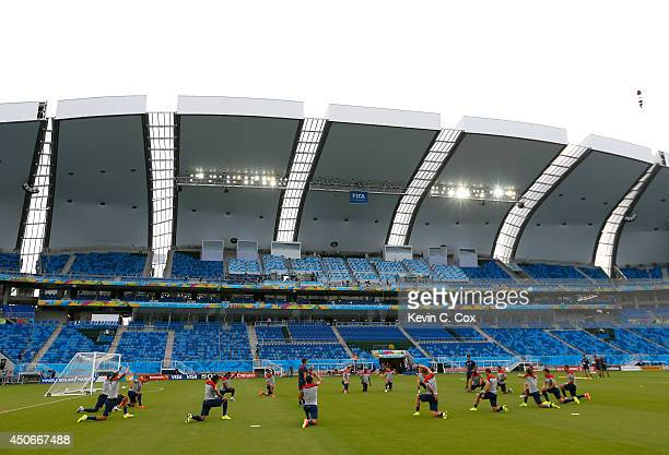 The US Men's National Team stretches during training at Estadio das Dunas on June 15, 2014 in Natal, Brazil.
