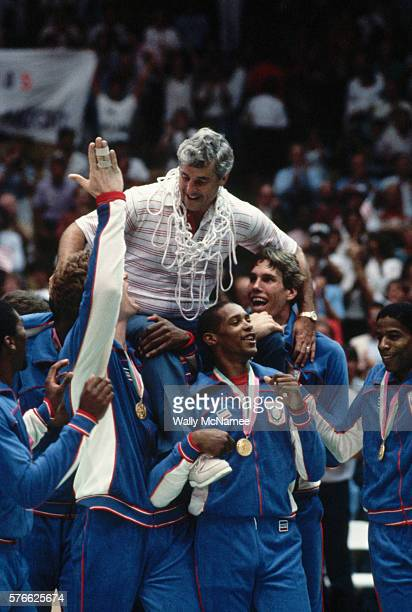 The US Men's Olympic basketball team carries their coach Bobby Knight after winning the gold medal at the 1984 Olympics