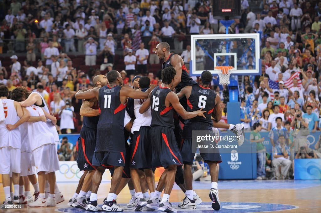 The U.S. Men's Senior National Team celebrates winning the men's gold medal at the 2008 Beijing Summer Olympics at the Beijing Olympic Basketball Gymnasium on August 24, 2008 in Beijing, China. The United States defeated Spain 118-107 to take the men's gold medal.