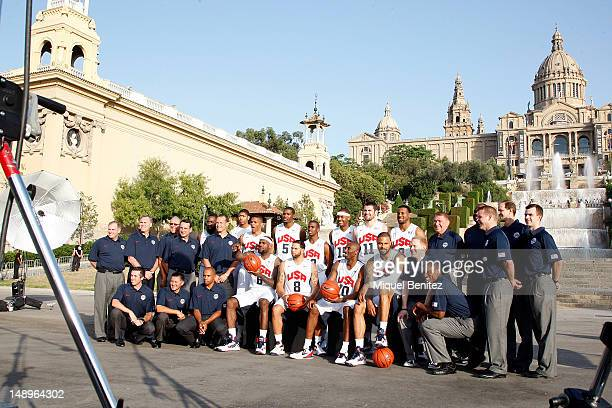 The US Men's Senior National Team poses at the photo session in Montjuic fountain on July 20 2012 in Barcelona Spain