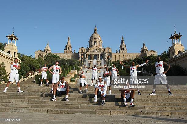 The US Men's Senior National team poses for a photo in front of the hill of Montjuic in Barcelona Spain on July 20 2012 NOTE TO USER User expressly...