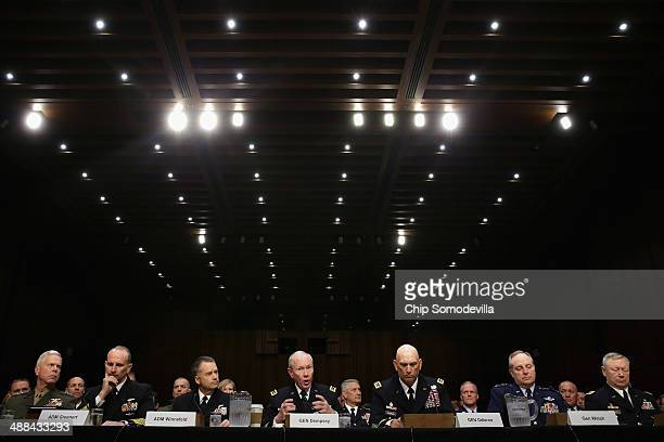 The US military Joint Chiefs of Staff Commandant of the Marine Corps Gen James Amos Chief of Naval Operations Adm Jonathan Greenert Vice Chairman of...