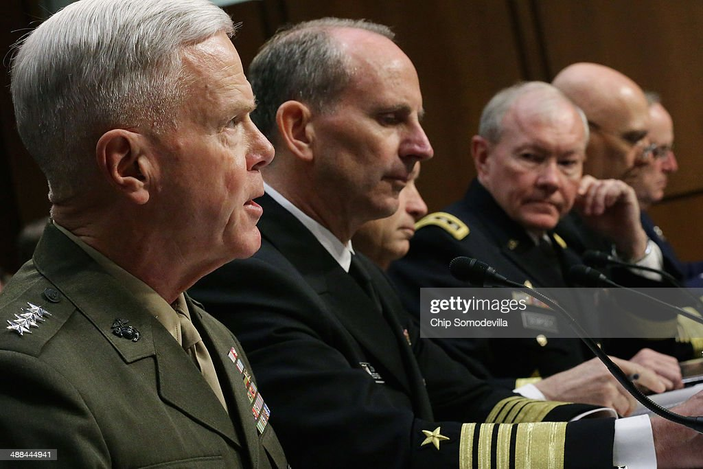The U.S. military Joint Chiefs of Staff (L-R) Commandant of the Marine Corps Gen. James Amos, Chief of Naval Operations Adm. Jonathan Greenert, Chairman of the Joint Chiefs of Staff Gen. Martin Dempsey, Chief of Staff of the Army Gen. Raymond Odierno and Chief of Staff of the Air Force Gen. Mark Welsh III testify before the Senate Armed Services Committee on Capitol Hill May 6, 2014 in Washington, DC. Joined by senior enlisted officers, the Joint Chiefs testified about proposals relating to military compensation.