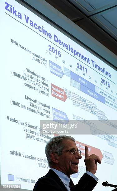 The US National Institutes of Allergy and Infectious Disease Director Dr Anthony Fauci gives a presentation about the Zika virus at the Georgetown...