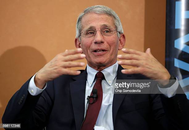 The US National Institutes of Allergy and Infectious Disease Director Dr Anthony Fauci participates in a panel discussion on the Zika virus at the...