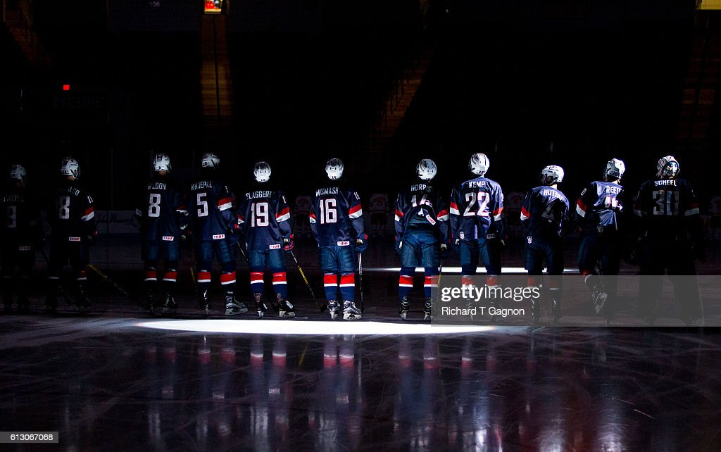 The U.S. National Under-18 Team stands on the blue line before an NCAA exhibition hockey against the Boston University Terriers at Agganis Arena on October 6, 2016 in Boston, Massachusetts. The Terriers won 8-2.