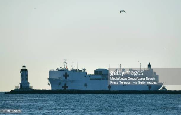 The US Naval Hospital Ship Mercy arrives in the Port of Los Angeles in San Pedro on Friday March 27 2020 The ship has 1000 beds and will be use to...