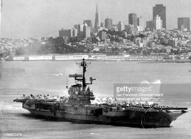 The U.S. Navy aircraft carrier Coral Sea is outbound. Photo taken from the Golden Gate Bridge, March 9, 1973 Photo ran , p. 8