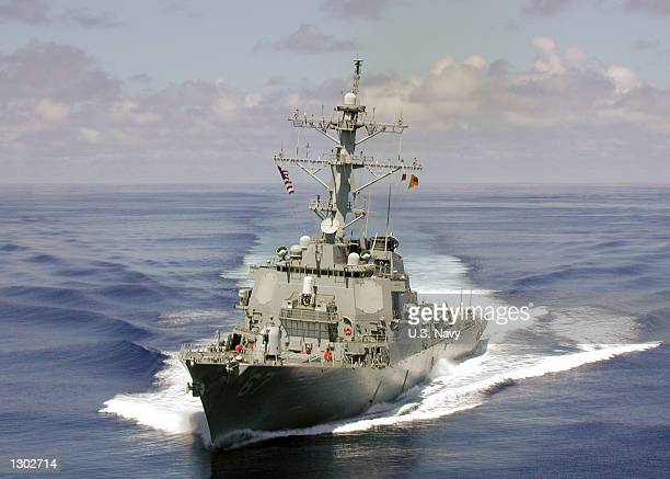 The US Navy Arleigh Burke class guided missile destroyer USS Cole September 14 approximately one month before being attacked by a terroristsuicide...