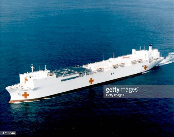 The US Navy auxiliary hospital ship USNS Comfort is seen at sea in this undated handout image The ship was deployed to the Indian Ocean January 6...
