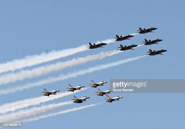 The US Navy Blue Angels and US Air Force Thunderbirds honor first responders on the front lines of the coronavirus pandemic by flying over Manhattan...
