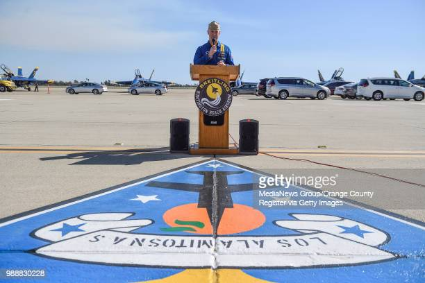 The US Navy Blue Angels Captain Ryan Bernacchi speaks after arriving at Los Alamitos Joint Forces Base on Monday September 25 2017 The flight team...
