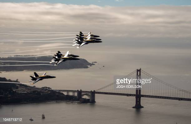 The US Navy Blue Angels fly near the Golden Gate Bridge in San Francisco California as part of a practice run for Fleet Week on October 4 2018