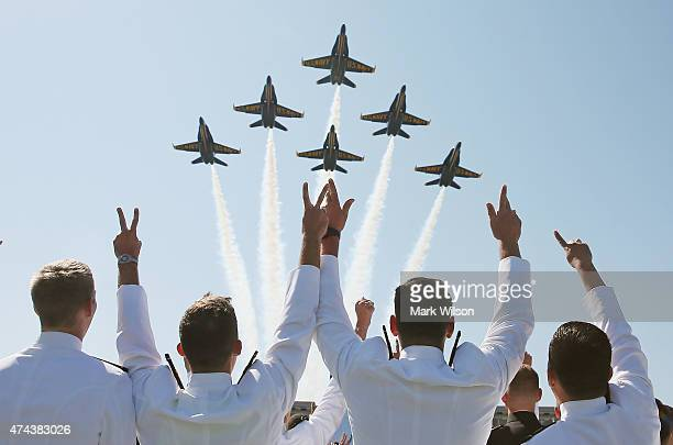 The US Navy Blue Angels fly over graduation ceremonies at the US Naval Academy May 22 2015 in Annapolis Maryland US Vice President Joseph Biden will...