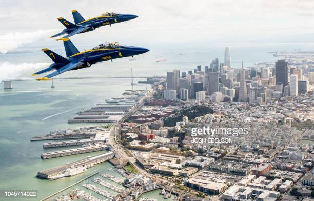 The US Navy Blue Angels fly over San Francisco California as part of a practice run for Fleet Week on October 04 2018
