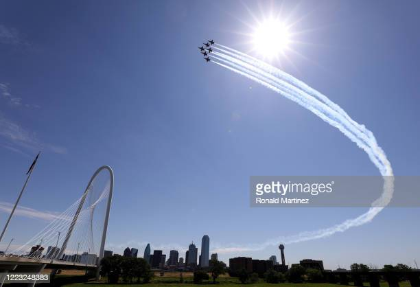 The U.S. Navy Blue Angels flyover downtown Dallas to honor healthcare, frontline and essential workers on May 06, 2020 in Dallas, Texas. The Blue...