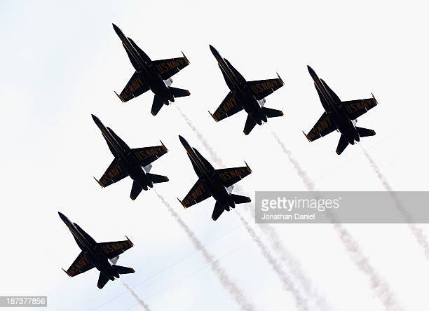 The US Navy Blue Angels perform a stadium flyover before the Notre Dame Fighting Irish take on the Navy Midshipmen at Notre Dame Stadium on November...