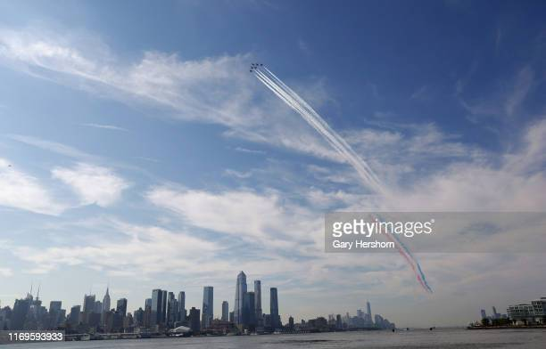 The US Navy Blue Angels The Royal Air Force Red Arrows and the USAF Thunderbirds fly up the Hudson River in New York City as part of the New York Air...
