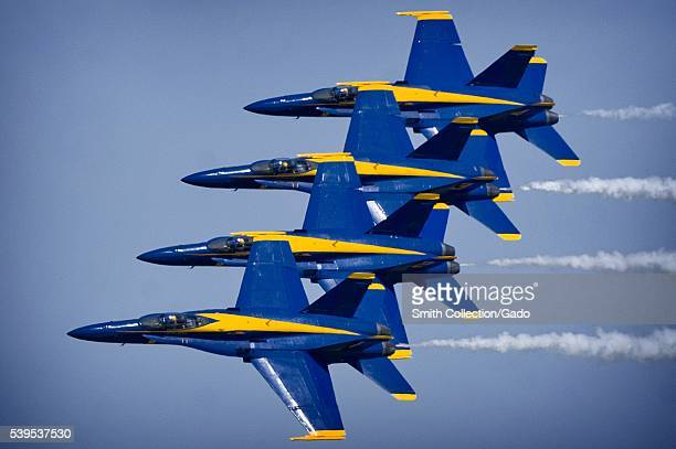 The US Navy fight demonstration squadron the Blue Angels demonstrate choreographed flight skills during the annual Joint Service Open House Joint...