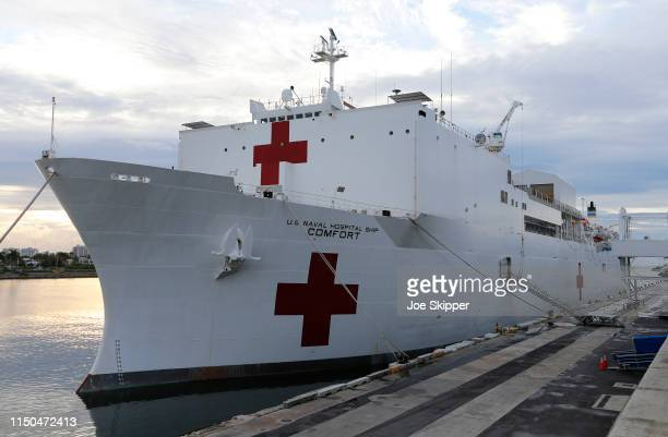 The US Navy hospital ship USNS Comfort is shown docked at the Port of Miami prior to a tour of the vessel by US Vice President Mike Pence on June 18...