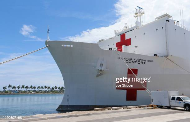The US Navy hospital ship USNS Comfort is shown docked at the Port of Miami following a tour of the vessel by US Vice President Mike Pence on June 18...
