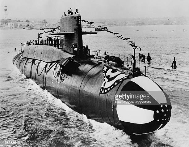 The US Navy submarine USS George Washington is launched at the Electric Boat Division of General Dynamics Groton Connecticut 9th June 1959 Armed with...