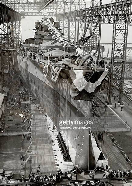The US navy's new battleship Indiana seen here ready for the trigger pull which sent her down the ways into the James river at Newport News Va...