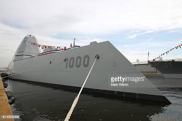 The US Navy's new guided missile destroyer DDG 1000 USS Zumwalt is moored to a dock on October 13, 2016 in Baltimore, Maryland. The Zumwalt is the...