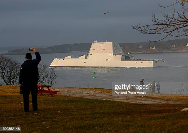 The US Navys new stealth destroyer the USS Zumwalt passes Fort Williams on its way to Portland Harbor on Thursday December 10 2015