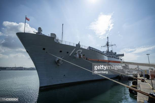 The US Navy's USS Blue Ridge sits anchored in Singapore on Thursday May 9 2019 Blue Ridge is a command ship of the 7thFleet and the oldest...