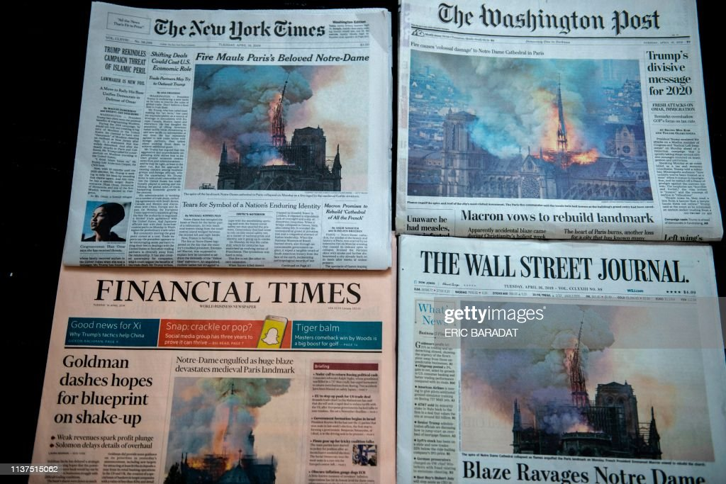 US-FRANCE-NOTRE DAME-FIRE-NEWSPAPERS : News Photo