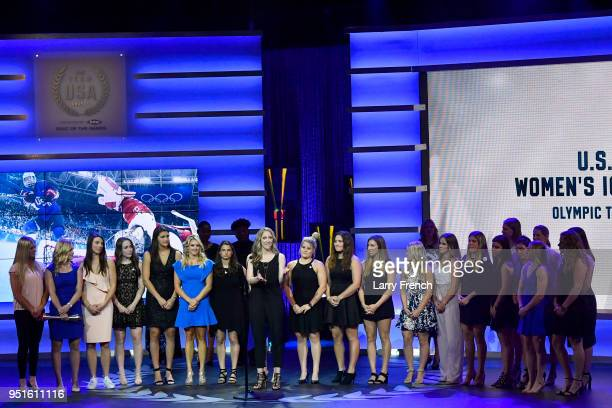 The US Olympic Women's Ice Hockey Team accepts the Olympic Team of the Games Award during the Team USA Awards at the Duke Ellington School of the...