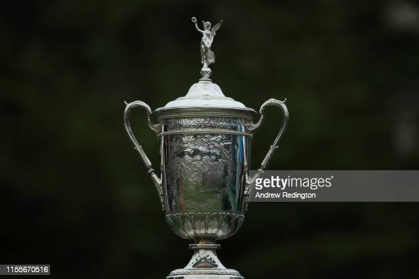 The U.S. Open Championship Trophy is displayed on the first tee during the first round of the 2019 U.S. Open at Pebble Beach Golf Links on June 13,...