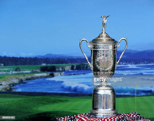 The US Open trophy on display against the backdrop of the 18th hole during the third round of the ATT Pebble Beach National ProAm at Pebble Beach...