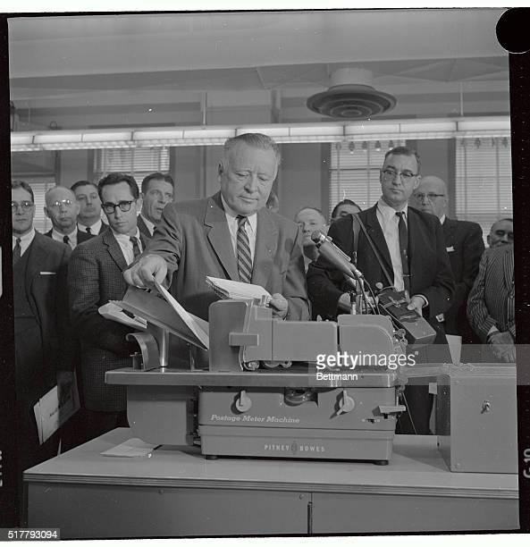 The U.S. Post Office Department demonstrated it's new speed mail experiment to the press here today. Postmaster General Arthur Summerfield is shown...
