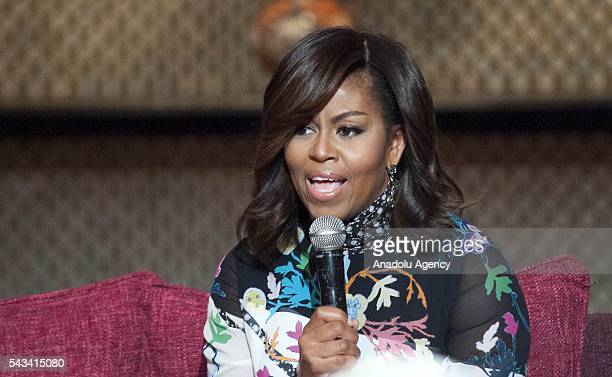 The US President Barrack Obama' s wife Michelle Obama delivers a speech during a program held for girls whose education is interrupted in Marrakech...