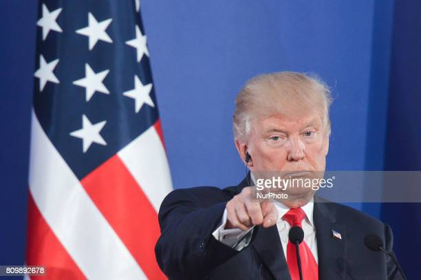 The US President Donald Trump during a press conference at the Royal Castle in Warsaw On Thursday July 6 in Warsaw Poland