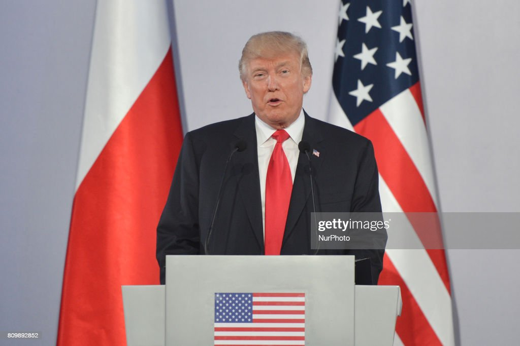 The US President Donald Trump during a press conference at the Royal Castle in Warsaw. On Thursday, July 6, 2017, in Warsaw, Poland.