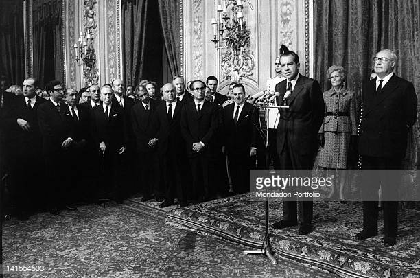 The US President Richard Nixon making a speech at the Quirinal Palace in the presence of many Italian politicians among whom the President of the...