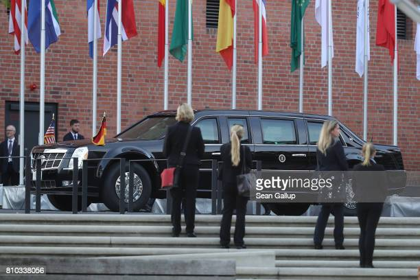 The US presidential car also known as The Beast prepares to drive away with US President Donald Trump and First Lady Melania after they attended a...