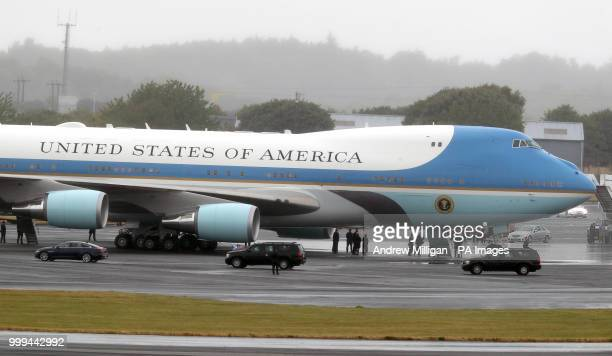 The US presidential convoy arrives at Air Force One at at Prestwick airport in Ayrshire as US President Donald Trump and his wife Melania will fly...