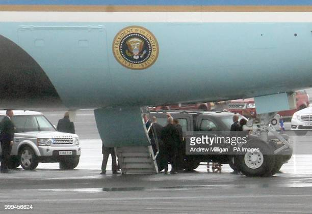 The US presidential convoy arrives at Air Force One at Prestwick airport in Ayrshire as US President Donald Trump and his wife Melania prepare to...