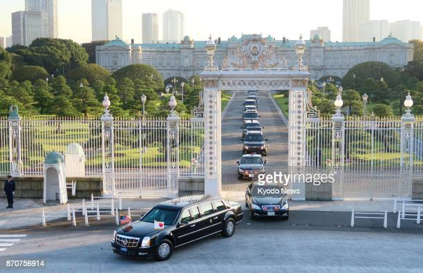The US presidential motorcade leaves the State Guest House in Tokyo on Nov 6 after President Donald Trump and Japanese Prime Minister Shinzo Abe held...