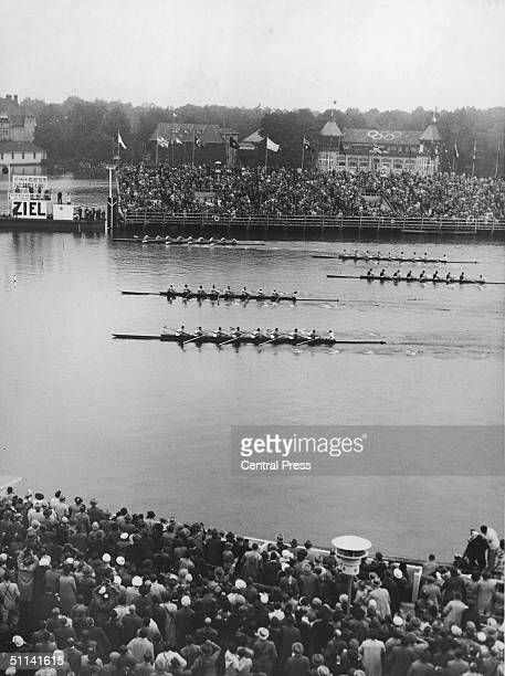 The US rowing team reaches the finish line on Lake Grunau outside Berlin during the 1936 Berlin Olympics The crew all from the University of...